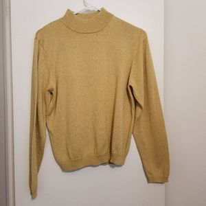 Gold Glitter Mock Neck Sweater Size S
